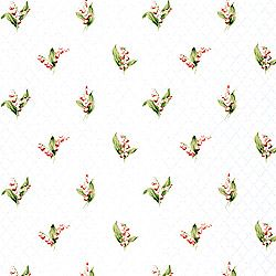 Lily of the valley wallpaper in pink, green on white ground