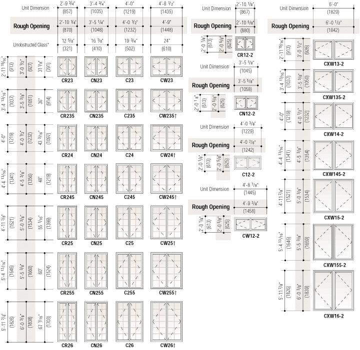 Superb Interior Door Size Chart 8 Standard Casement Window Sizes
