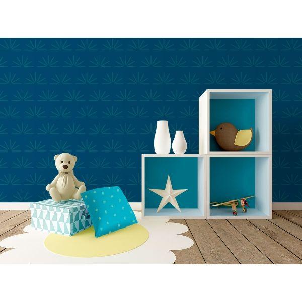 Jeanne Bleu Petrole Bleu Gris Grand Motif Bleu Petrole