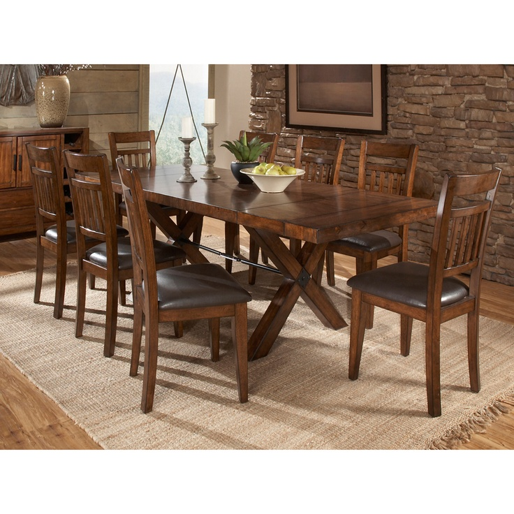 TRIBECCA HOME Inverness Warm Oak Turnbuckle Mission Dining