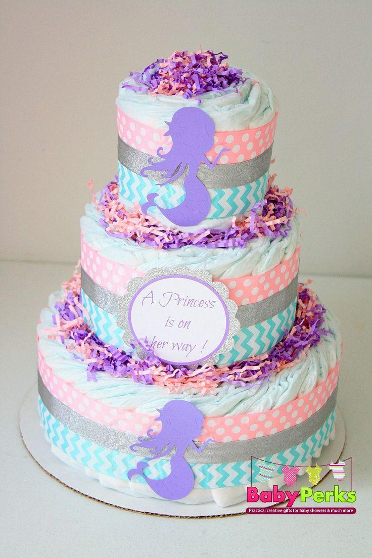 Mermaid baby shower , Mermaid shower decoration , Mermaid diaper cake , pink, aqua, grey , lavender , Baby shower decorations by MsPerks on Etsy https://www.etsy.com/listing/229546962/mermaid-baby-shower-mermaid-shower