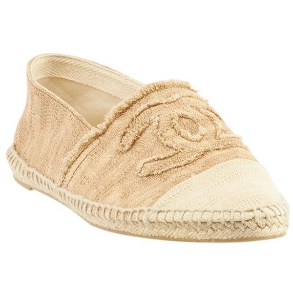 Pre-owned Chanel Espadrille Tan & Beige Canvas Flats ($633) ❤ liked on Polyvore featuring shoes, flats, canvas flats, canvas espadrilles, beige espadrilles, espadrilles shoes and canvas flat shoes