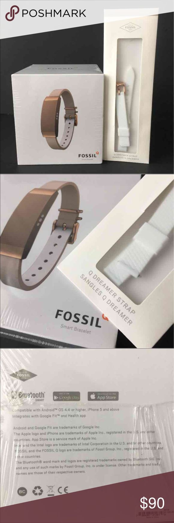 FOSSIL Q Dreamer Smart Bracelet Rosegold ExtraStrp Brand New (Sealed)! - Rose Gold FOSSIL Q Dreamer Smart Bracelet plus Extra Strap!  Smart Bracelet Activity Tracker FTJ50011 Retail:125++ (Bracelet)             25++ (Extra Strap)  Stainless Steel Case  Brown Leather Strap  Extra Strap included Never opened (sealed) Fossil Accessories Watches