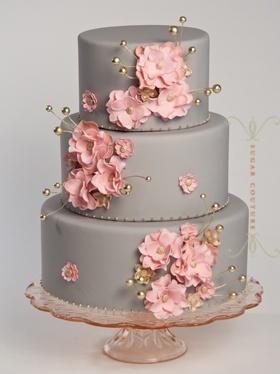 Pink flowered wedding cake