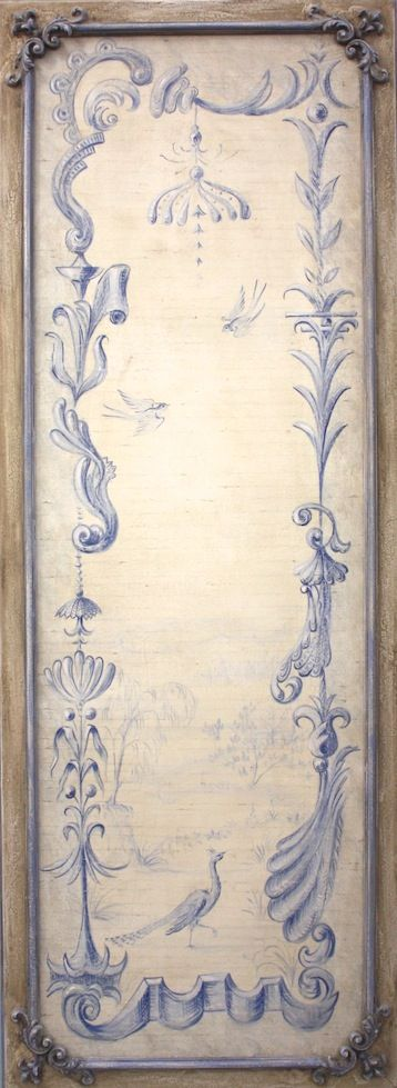"#3267 Blue Chinoiserie Panel A 75""x27"""