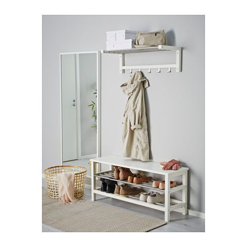 TJUSIG Bench with shoe storage - white - IKEA + Tjusig hat rack $90 total