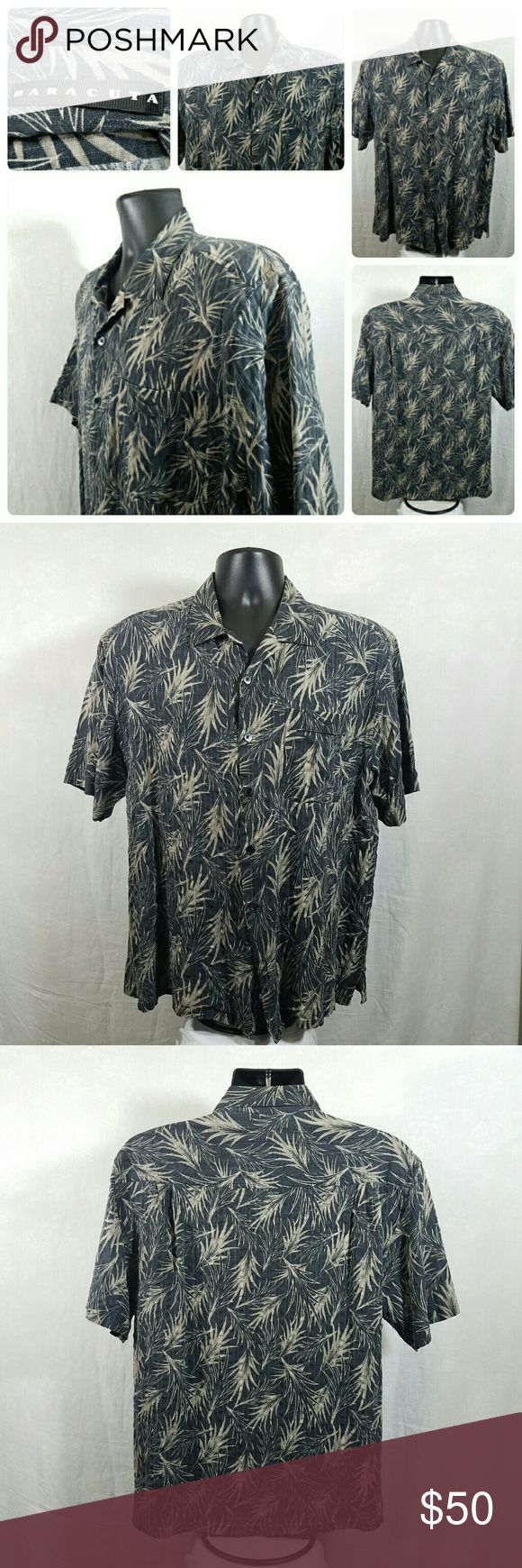 Mens Baracuta 100% Silk Hawaiian Shirt Sz L Mens Baracuta 100% Silk Hawaiian Shirt Sz L missing bottom button. This is not a cheap Brand shirt Google it if you don't know the brand.  Other than that it's in great shape.  Feel free to ask any questions and make offers. Baracuta Shirts Casual Button Down Shirts
