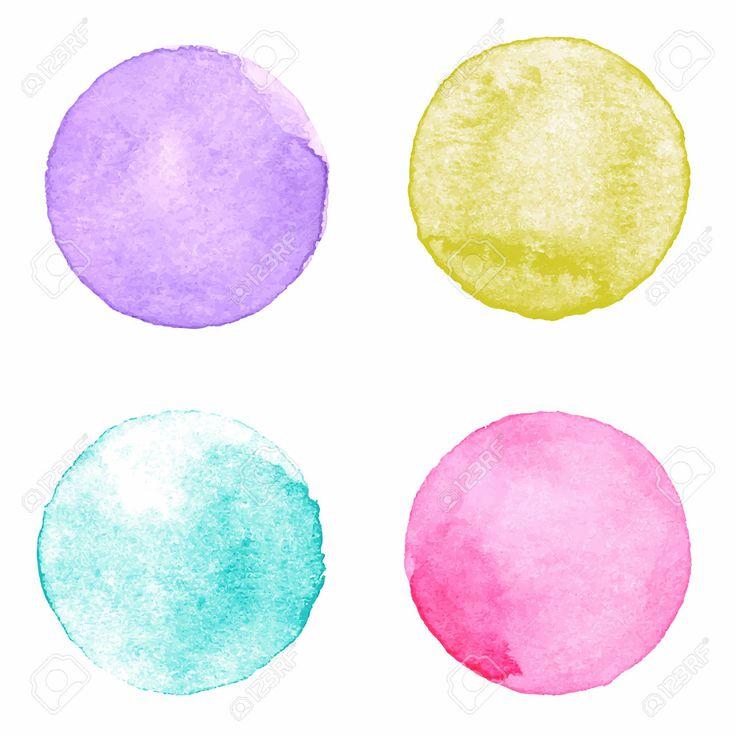Акварель расписанную текстурированной коллекцию круги на белом фоне бумаги. Фиолетовый, желтый, аквамарин, розовый Клипарты, векторы, и Набор Иллюстраций Без Оплаты Отчислений. Image 47418481.