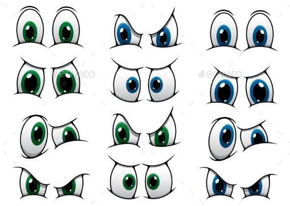 Set of Cartoon Eyes Showing Various Expressions - People Characters