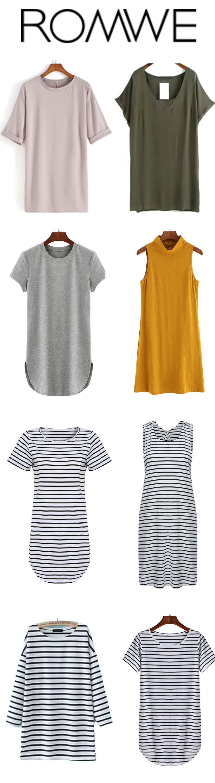 Longing for a lot of soft T-dress for so long. Plain shift dress and stripe…