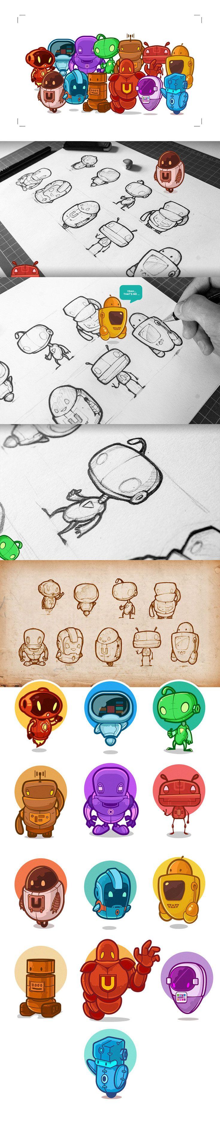 Illustration of Cute Little Robots by Tamas Moroz , designer and illustrator from Transylvania ( Cluj Napoca )// http://www.animhut.com/inspiration/cute-little-robots/
