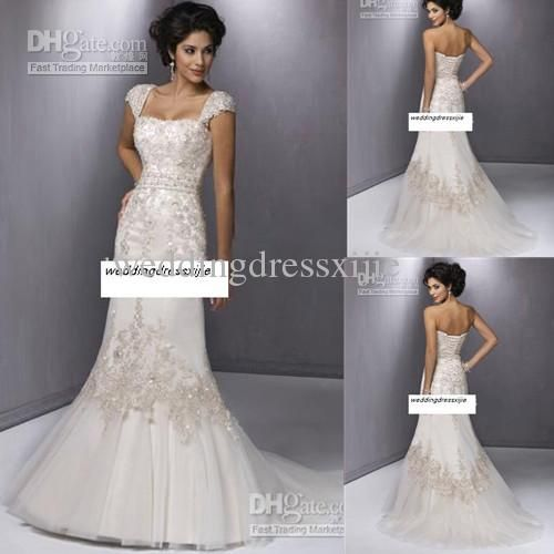 Trending Wholesale Vintage Cheap Mermaid Wedding Dresses Bridal Gowns Satin Organza Square Court Train Applique Allured