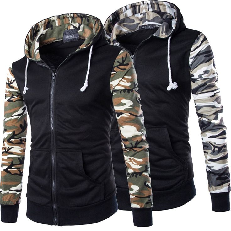 Men Zipper Camo Casual Military Jacket Hoodie Hooded Coat Sweatshirt Outwear Top in Clothes, Shoes & Accessories, Men's Clothing, Coats & Jackets | eBay