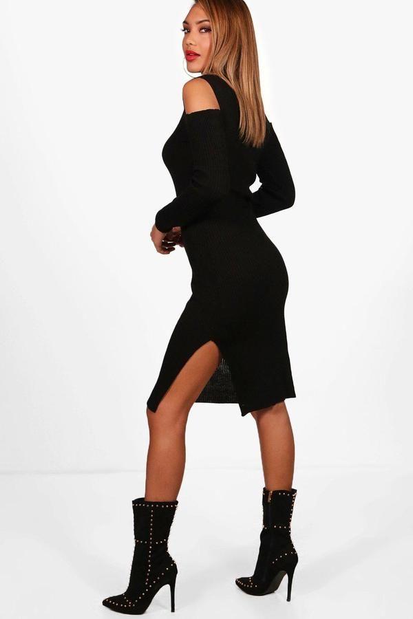 boohoo Amy Rib Knit Cold Shoulder Roll Neck Jumper Dress