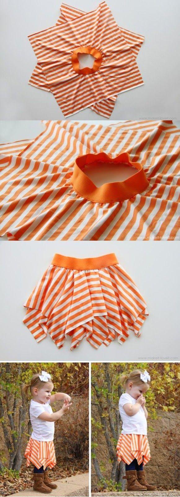Idea para hacer una falda de picos de una forma sencilla, solo necesitamos dos cuadrados de tela de punto y un elástico ancho.
