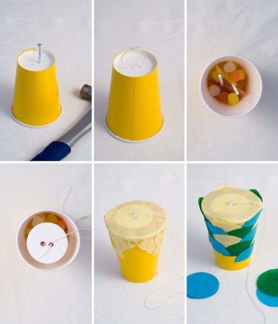 Individual pull pinatas made from cups.