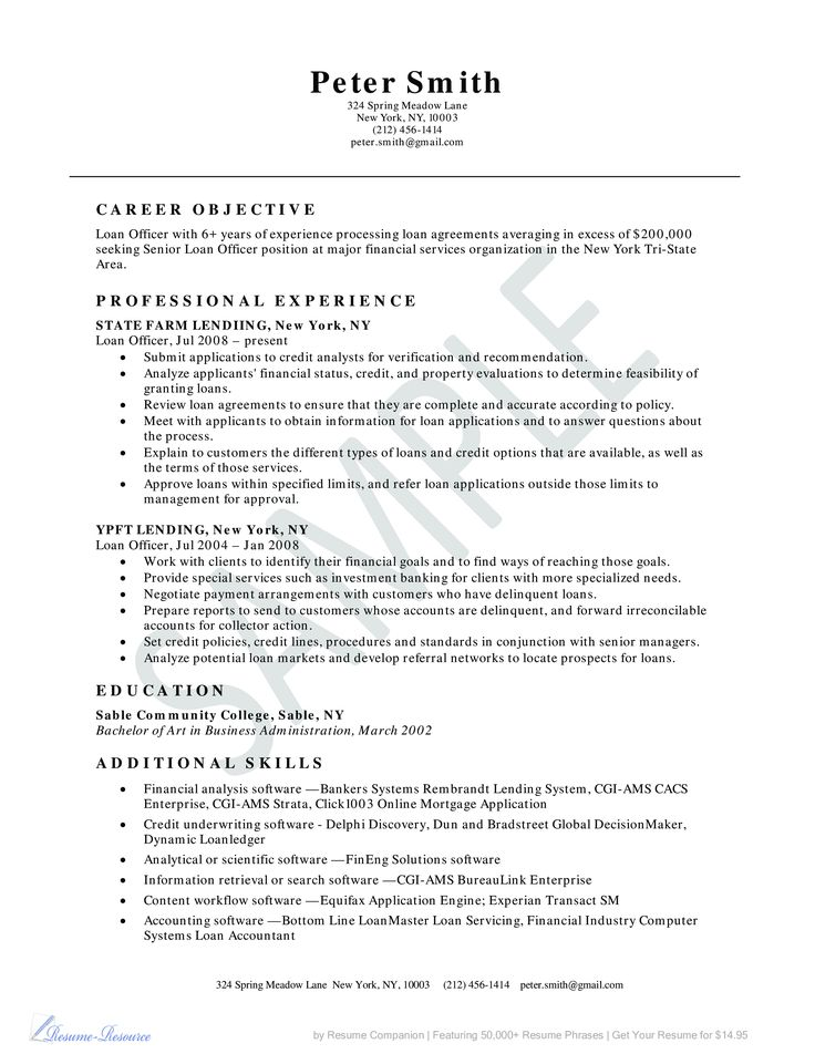 Loan Officer Resume Example Business Resume Example