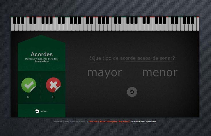 EarTeach es una aplicación para el entrentamiento del oído musical, y está indicada para cualquier estudiante de música, que peude acceder a ella de forma libre y gratuita.