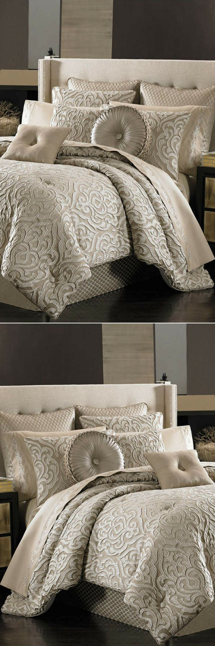 Traditional  meets modern in the Astoria comforter set from J Queen New York  features large scale damask embellishments that create a unique three  dimensional effect, while the bedskirt offers a diamond coordinate  pattern. Home decor ideas, bedroom decor ideas, bed, bedding, blanket #homedecorideas #ad #bedroomideas #bedroomdecor