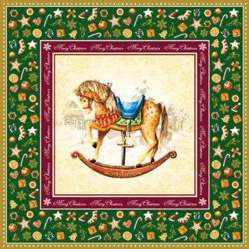 Amazon.com - Luxury Ambiente Rocking Horse Napkins - Green - Party Napkins