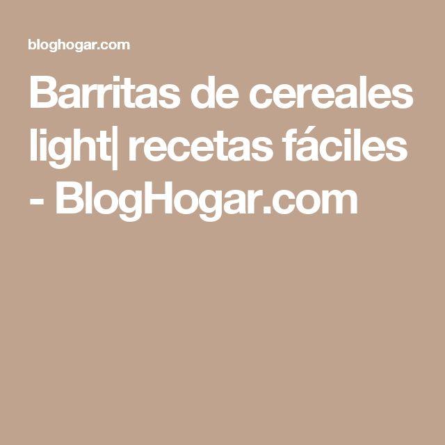 Barritas de cereales light| recetas fáciles - BlogHogar.com