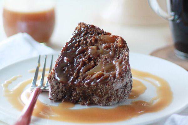 Vegan Gingerbread Pear Bundt Cake with Caramel Sauce (can sub half or ...