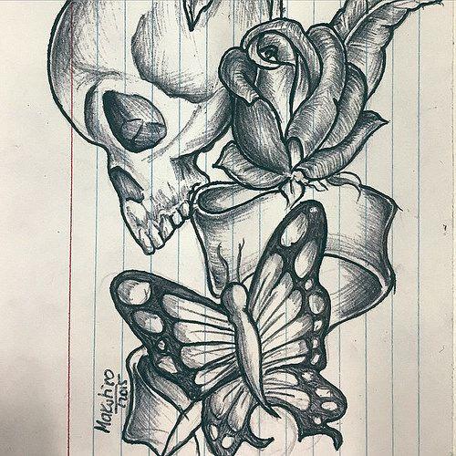 Skull rose butterfly tat #skull #rose #tattoo #butterfly # ...