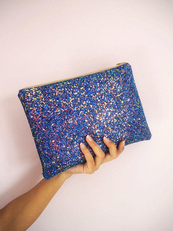 Royal Blue Glitter Clutch Bag Sparkly Blue Large Evening Bag