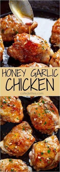 Easy Honey Garlic Chicken : cafedelites #chicken #thighs #foodrecipe