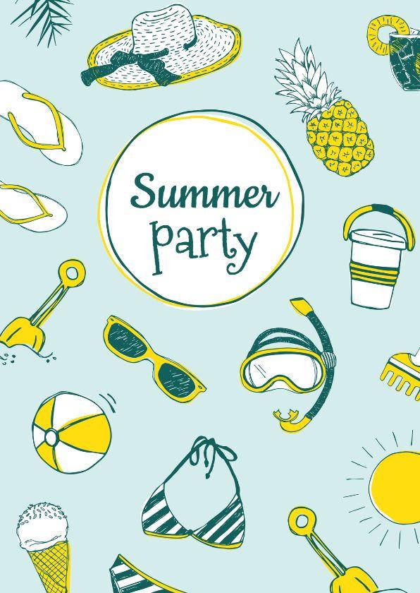 Vrolijke en zonnige uitnodiging voor een feestje! Met hippe tekeningen van ananas, zonnehoed, zonnebril, zon, snorkel, ijsje en strand spullen. Dit kaartje is verkrijgbaar bij #kaartje2go voor €1,89