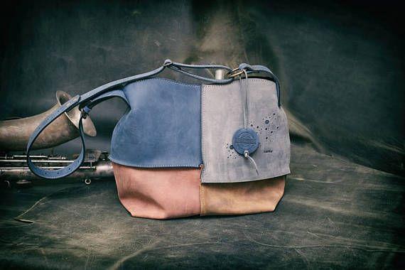 Leather shoulder bag hobo bag LADYBUQ oversize handmade bag