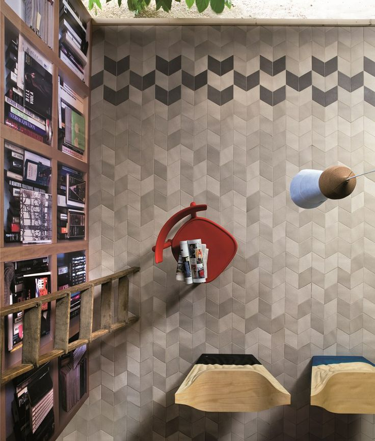 Indoor porcelain stoneware wall/floor tiles TEX BLACK by MUTINA | #design Raw Edges