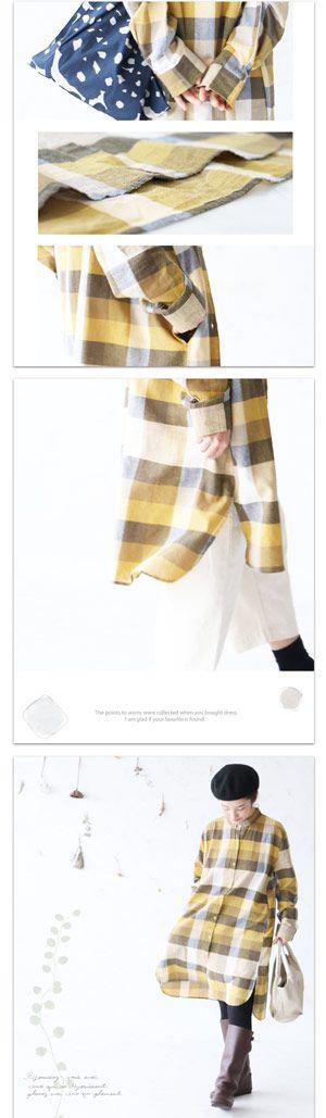 。(イエロー)優しく調和するチェックの魔法ワンピース 12月30日22時販売新作(メール便不可) ◇◆◆ cawaii sanpo レディース かわいい チェック 黄色 cawaii ゆったり ロング 素材 綿 リネン ブロックチェック シャツワンピ 長袖