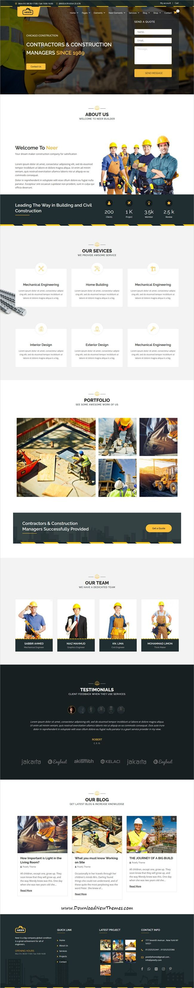 Neer is clean and modern design responsive WordPress #template for #construction and #architects company beautiful website with 12+ different homepage layouts to live preview & download click on image or Visit 👆