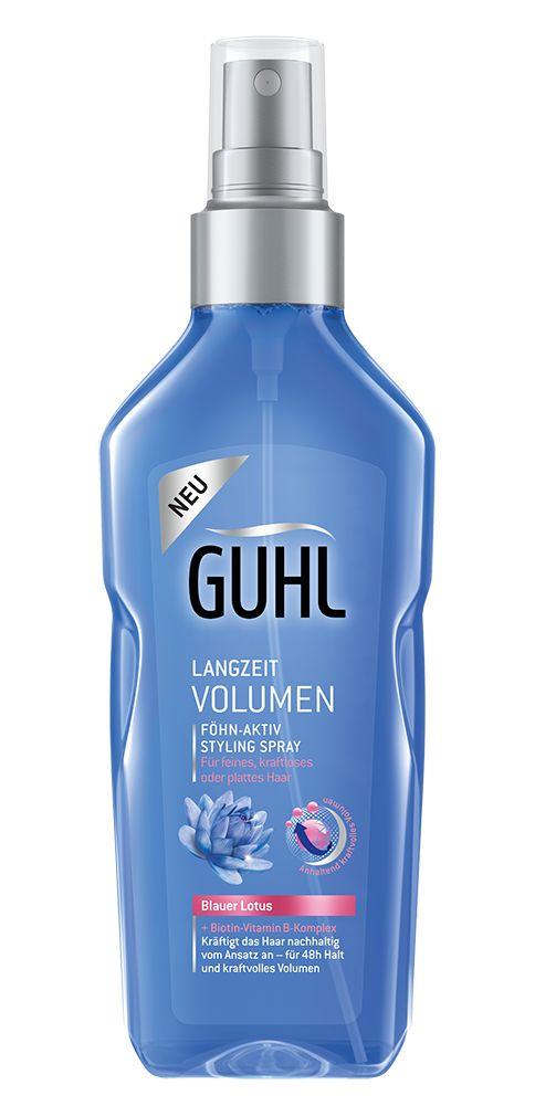 """Die Guhl Linie """"Langzeit Volumen"""" mit Blauem Lotus und Biotin-Vitamin B-Komplex verbessert die Haarstruktur Anwendung für Anwendung und kräftigt das Haar spürbar vom Ansatz bis in die Spitzen. Für anhaltend kraftvolles Volumen und das schöne Gefühl von mehr Fülle."""