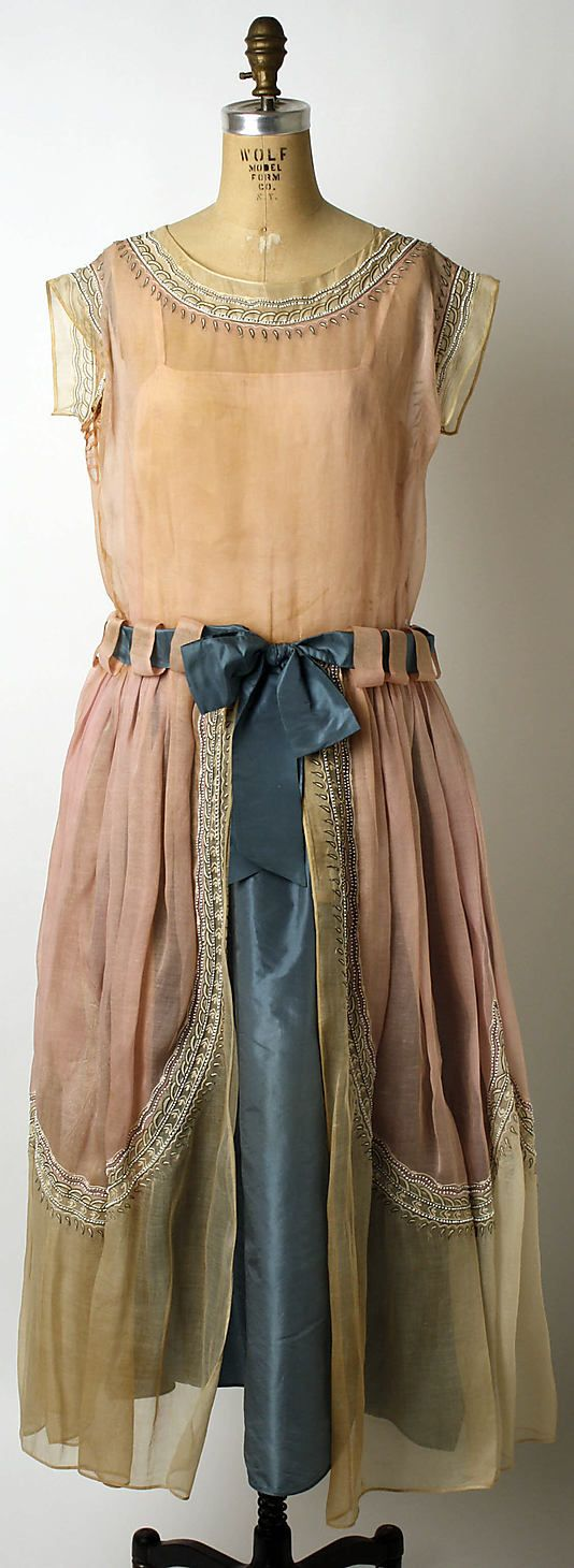1922 cotton, silk, glass, and metal Robe de Style, House of Lanvin by Jeanne Lanvin. Via MMA.
