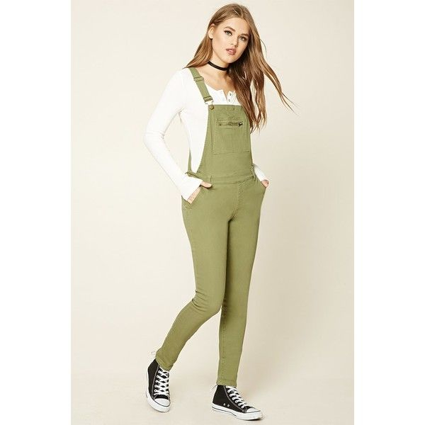 Forever21 Skinny Denim Overalls ($33) ❤ liked on Polyvore featuring jumpsuits, sage, skinny jeans, cut skinny jeans, forever 21 jumpsuit, zipper skinny jeans and skinny jumpsuit