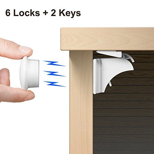 Adoric Hidden Baby Safety Magnetic Locks (6 Locks + 2 Keys)  Childproof With