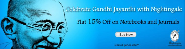 Another Great Offer for #Gandhi Jayanthi From Nightingale Paper products - 15% Off on Notebooks..! Visit : http://nightingale.co.in/special-offer-sale.html
