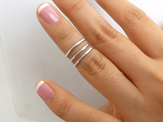 3 Knuckle Rings  Sterling Silver Knuckle Rings by PRECIOUSWINGSCOM, $26.00