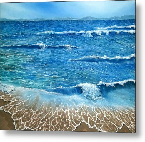 Metal Print,  nature,seascape,coastal,scene,ocean,waves,beach,shore,sandy,splashing,crashing,breaking,lace,blue,rough,beautiful,image,fine,oil,painting,contemporary,scenic,modern,virtual,deviant,wall,art,awesome,cool,artistic,artwork,for,sale,home,office,decor,decoration,decorative,items,ideas