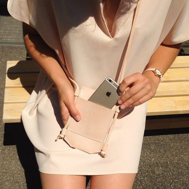 New summer neutrals - the Adia Dress and the Leather Phone Sling.