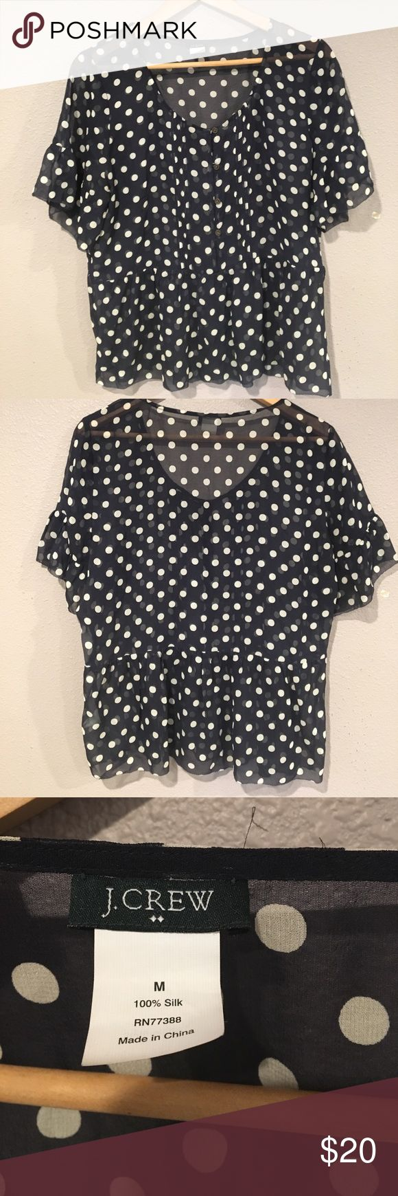 J. Crew navy/cream polka dot sheer blouse. Size M Gorgeous silk navy and cream polka dot blouse by J. Crew. Has been worn but is in overall good condition with lots of life left. Meant to be loose fitting with wide arm and room to spare in torso. J. Crew Tops Blouses