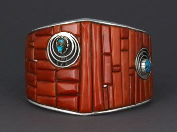 Eddie Begay (Navajo) |: Eddie Begay, Coral Bracelets, American Indian, Bracelets Cuffs, Royston Turquoise, Sterling Silver, Begay Navajo, Opals Accent, Native American