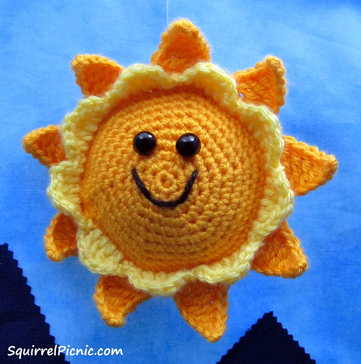These little crochet suns are sure to brighten your day. They would be a great addition to a baby's mobile... or hanging in a school locker... or on the rear dash of a car... anyplace that needs ch...