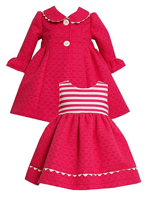 Size-24M, Fuchsia, BNJ-7958R, 2-Piece Fuchsia-Pink and White Jacquard Circle Coat and Dress Set, Bonnie Jean Baby-Newborn Special Occasion Flower Girl Party Dress
