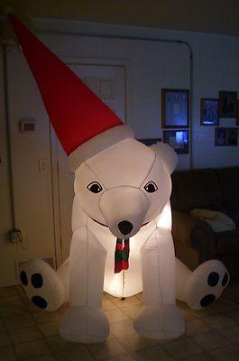 Gemmy Airblown Inflatable Santa Bear 6 Tall Lighted Polar Bear Yard Decor