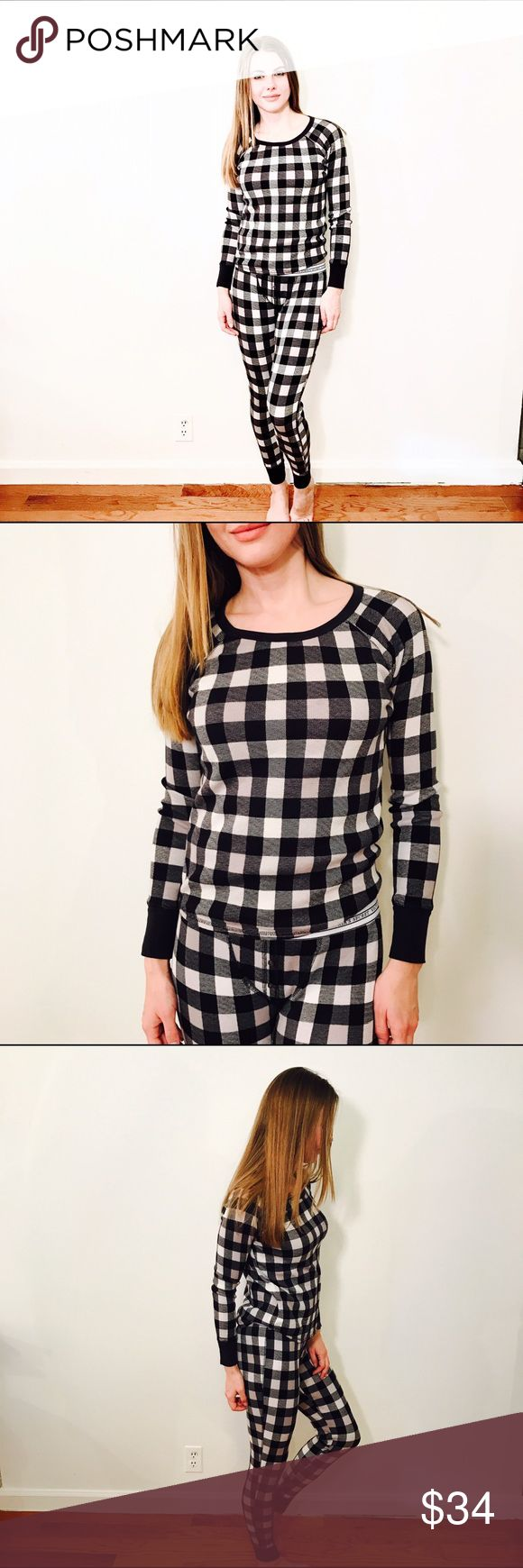 """VICTORIAS SECRET CHECKERED THERMAL LOUNGE TOP #746 VICTORIA'S SECRET, Size S, Black gray white checkered thermal pyjama top, long sleeve.  CONDITION: EUC, No issues.  CHEST: 35"""" WAIST: 33"""" LENGTH: 21"""" INSEAM:  *All measurements taken while item is laid flat (doubled when necessary) and measured across the front  MATERIAL: Cotton Elastane  STRETCH: Yes INSTAGRAM @ORNAMENTALSTONE 🚫Trading Victoria's Secret Tops"""