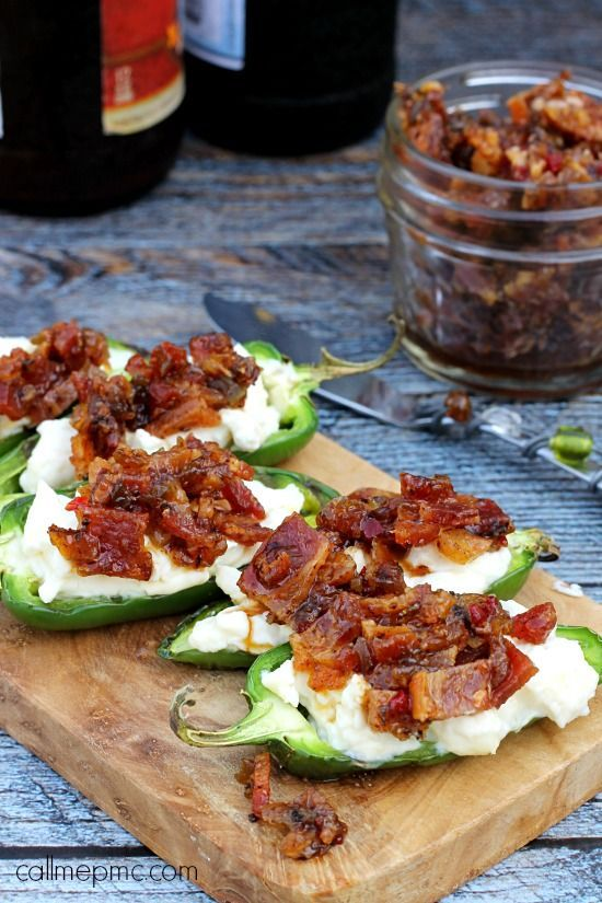 Grilled Stuffed Jalapeno Peppers with Brown Sugar Bacon - spicy jalapenos stuff with creamy cheese and topped with sweet and smokey bacon