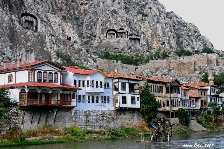 Turkey-Amasya was settled already by the Hittites. The main attractions are the Royal Tombs of Pontus in the cliffs above the city
